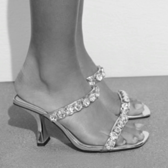 NWT Zara Metallic Heeled Sandal w Sparkly Straps